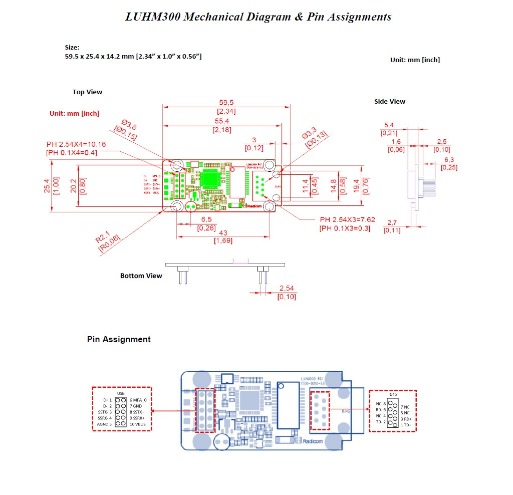 LUHM300 Mechanical Diagram & Pin Assignments